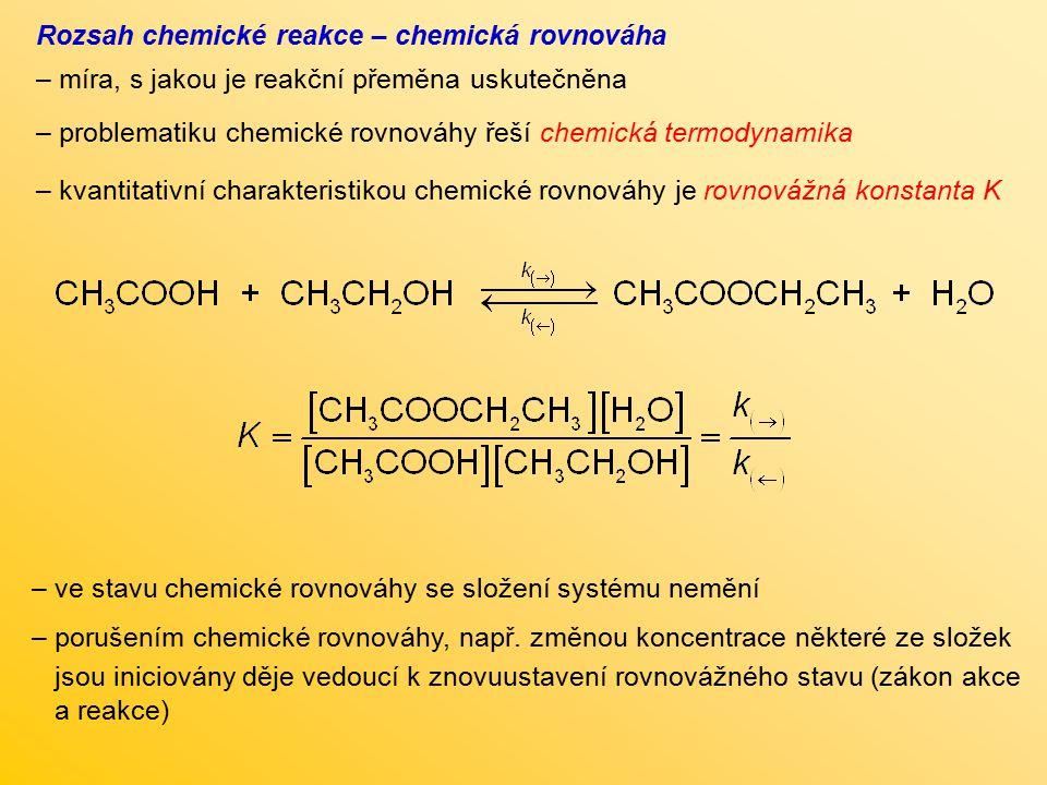 Rozsah chemické reakce – chemická rovnováha