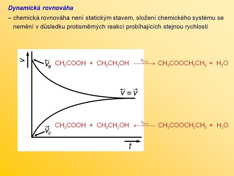 Dynamická rovnováha chemická rovnováha není statickým stavem, složení chemického systému se.