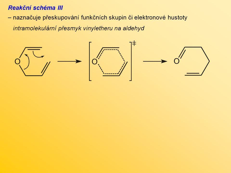 Reakční schéma III naznačuje přeskupování funkčních skupin či elektronové hustoty.