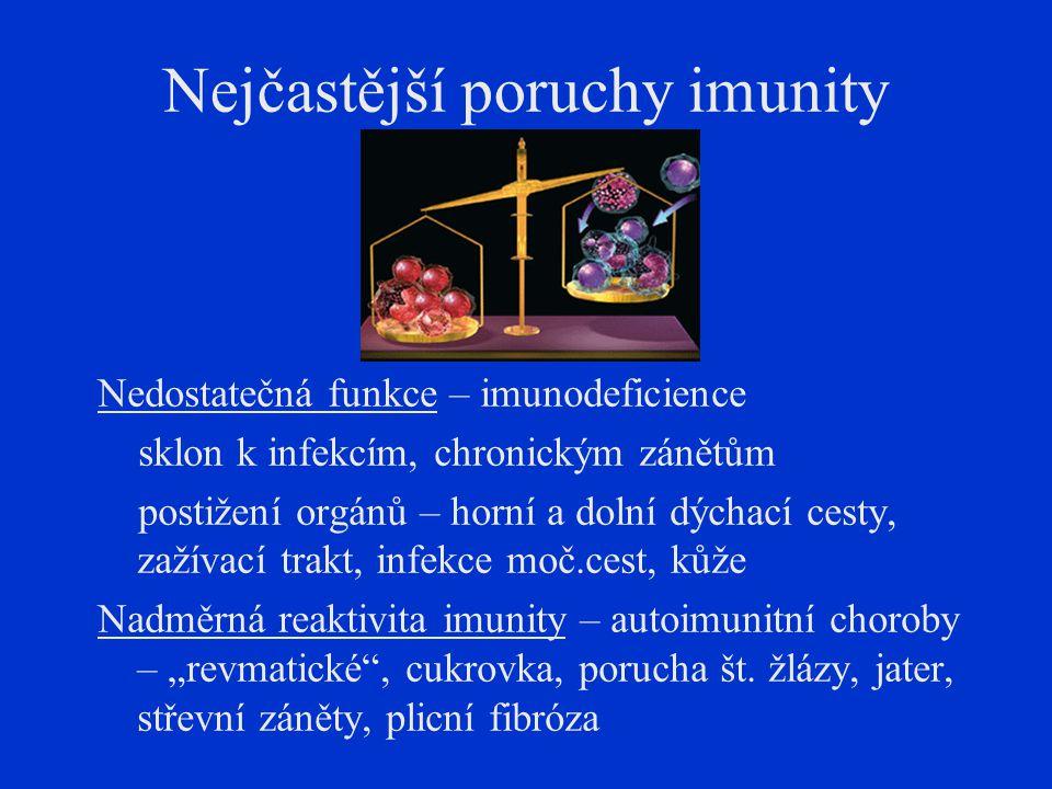 Nejčastější poruchy imunity