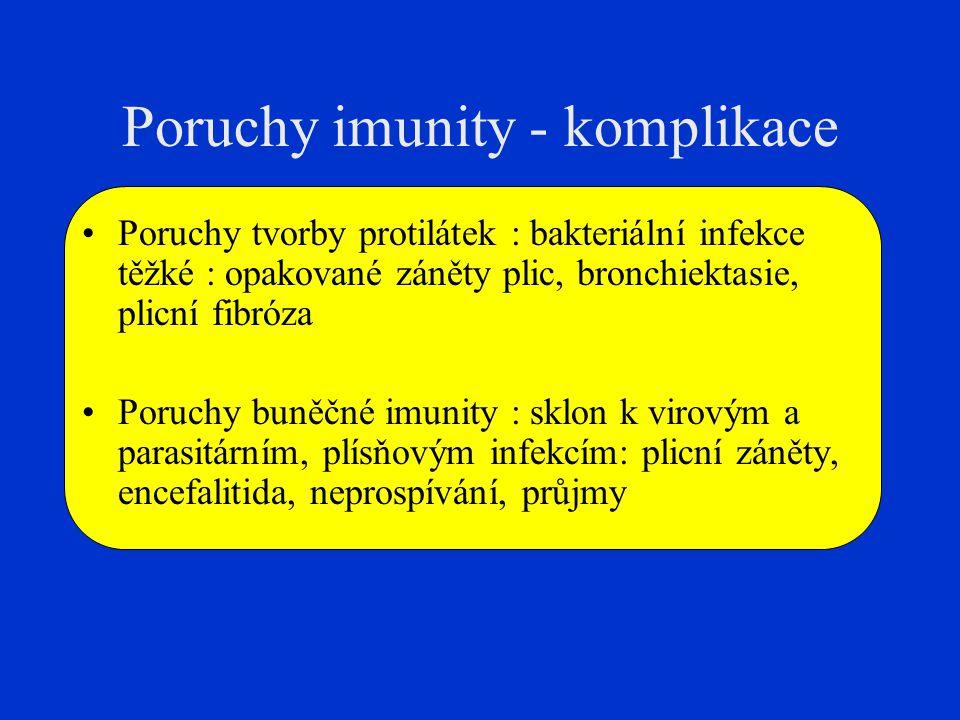 Poruchy imunity - komplikace