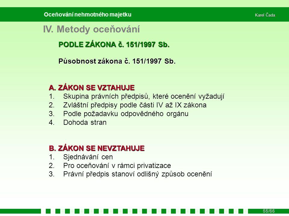 IV. Metody oceňování PODLE ZÁKONA č. 151/1997 Sb.