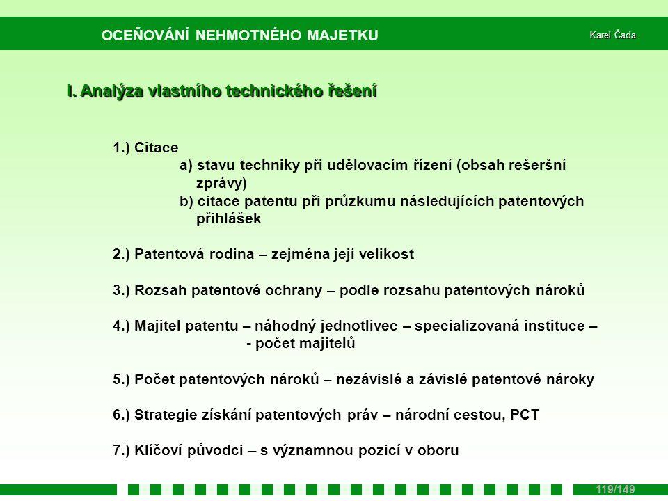 I. Analýza vlastního technického řešení