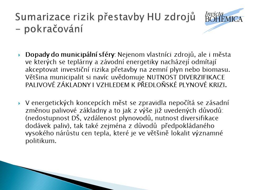 Sumarizace rizik přestavby HU zdrojů - pokračování
