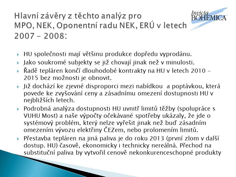 Hlavní závěry z těchto analýz pro MPO, NEK, Oponentní radu NEK, ERÚ v letech 2007 -2007 - 2008: