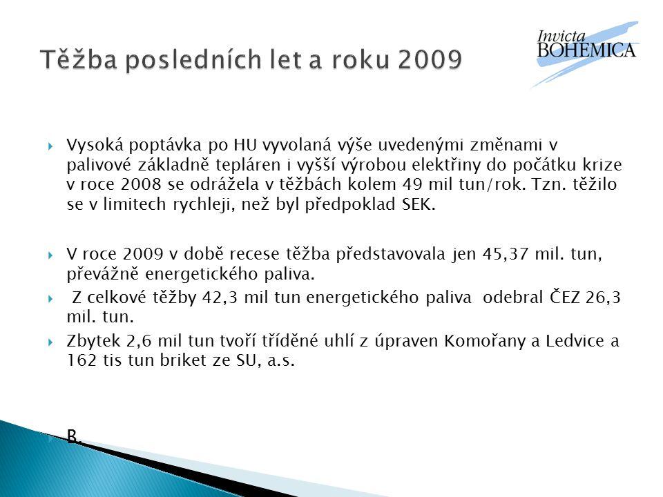 Těžba posledních let a roku 2009