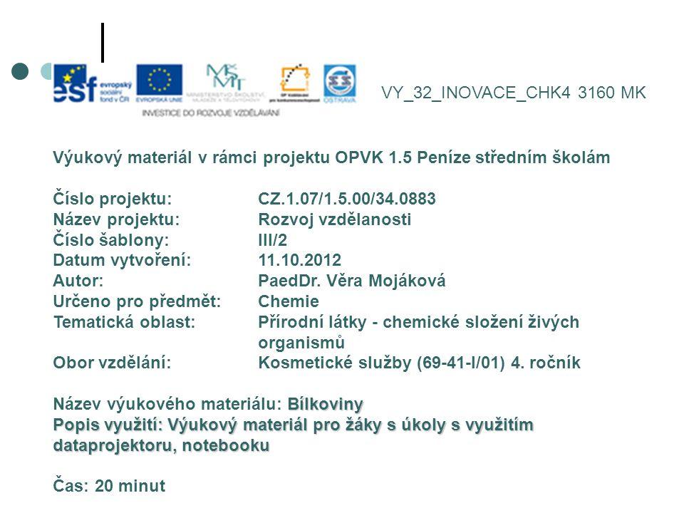 VY_32_INOVACE_CHK4 3160 MK Výukový materiál v rámci projektu OPVK 1.5 Peníze středním školám. Číslo projektu: CZ.1.07/1.5.00/34.0883.