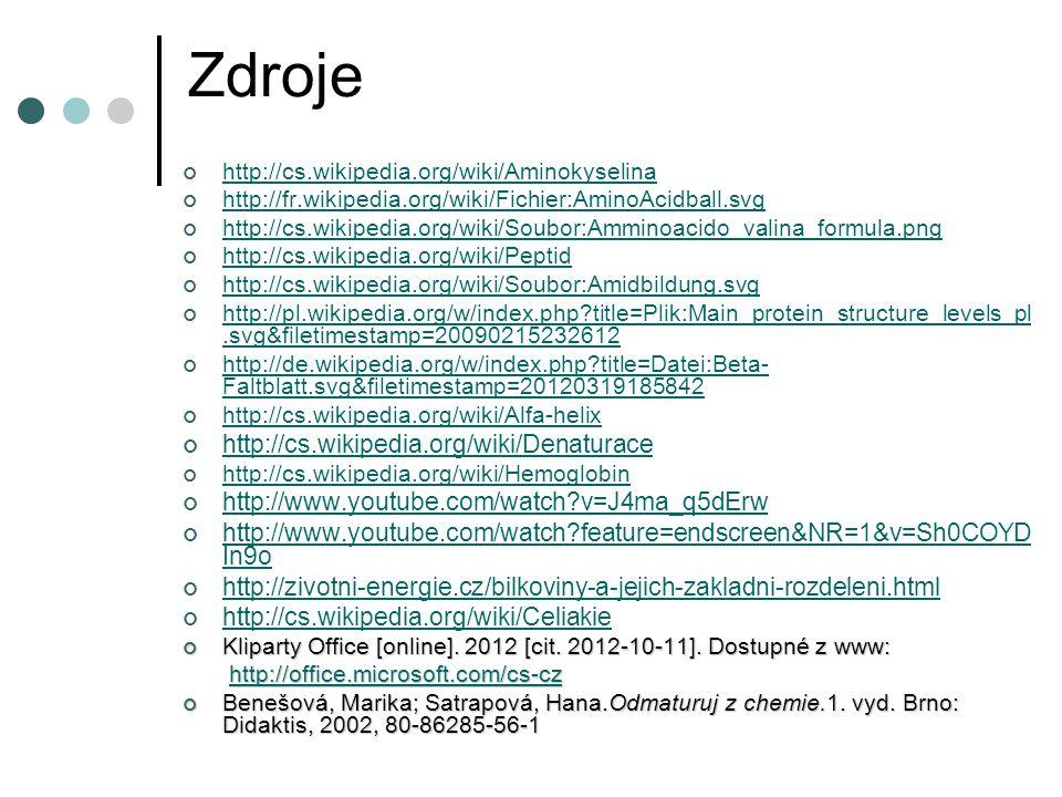 Zdroje http://cs.wikipedia.org/wiki/Denaturace