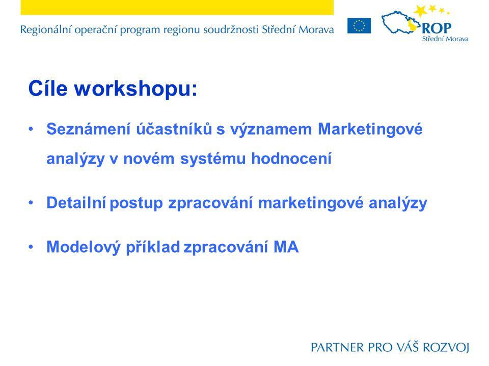 Cíle workshopu: Seznámení účastníků s významem Marketingové analýzy v novém systému hodnocení. Detailní postup zpracování marketingové analýzy.