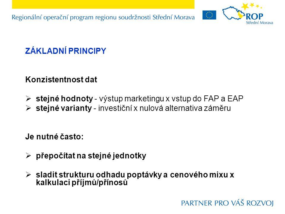 ZÁKLADNÍ PRINCIPY Konzistentnost dat. stejné hodnoty - výstup marketingu x vstup do FAP a EAP.