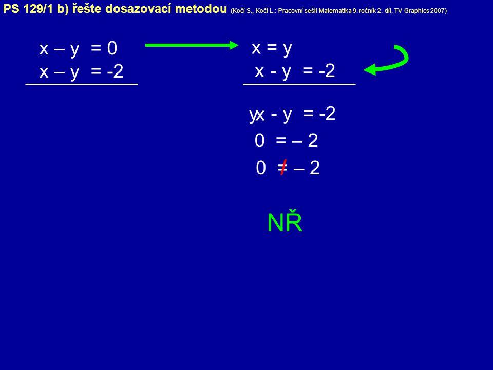NŘ x – y = 0 x – y = -2 x = y - y = -2 x y x - y = -2 0 = – 2 0 = – 2