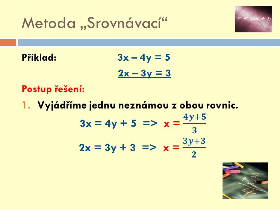 """Metoda """"Srovnávací Příklad: 3x – 4y = 5. 2x – 3y = 3. Postup řešení:"""