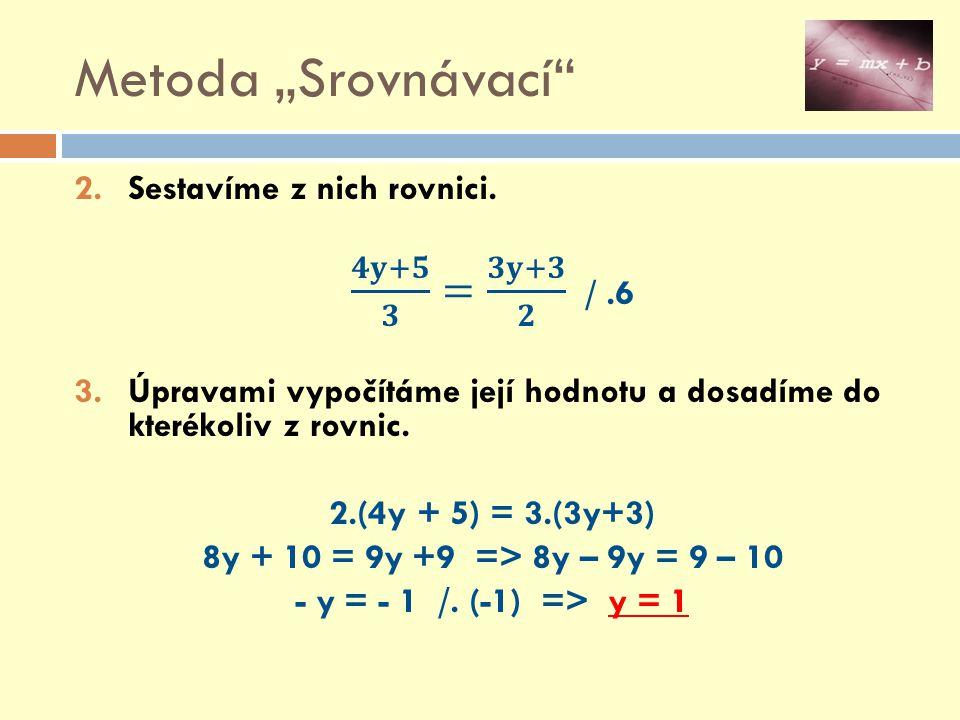 """Metoda """"Srovnávací 𝟒𝐲+𝟓 𝟑 = 𝟑𝐲+𝟑 𝟐 / .6 Sestavíme z nich rovnici."""