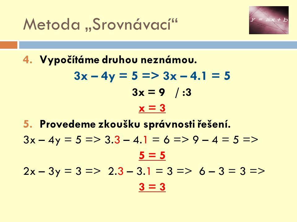 """Metoda """"Srovnávací 3x – 4y = 5 => 3x – 4.1 = 5"""
