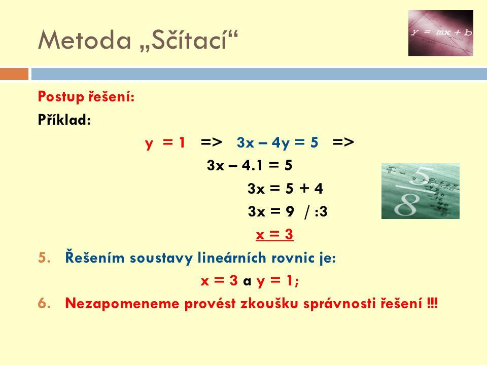 """Metoda """"Sčítací Postup řešení: Příklad: y = 1 => 3x – 4y = 5 =>"""