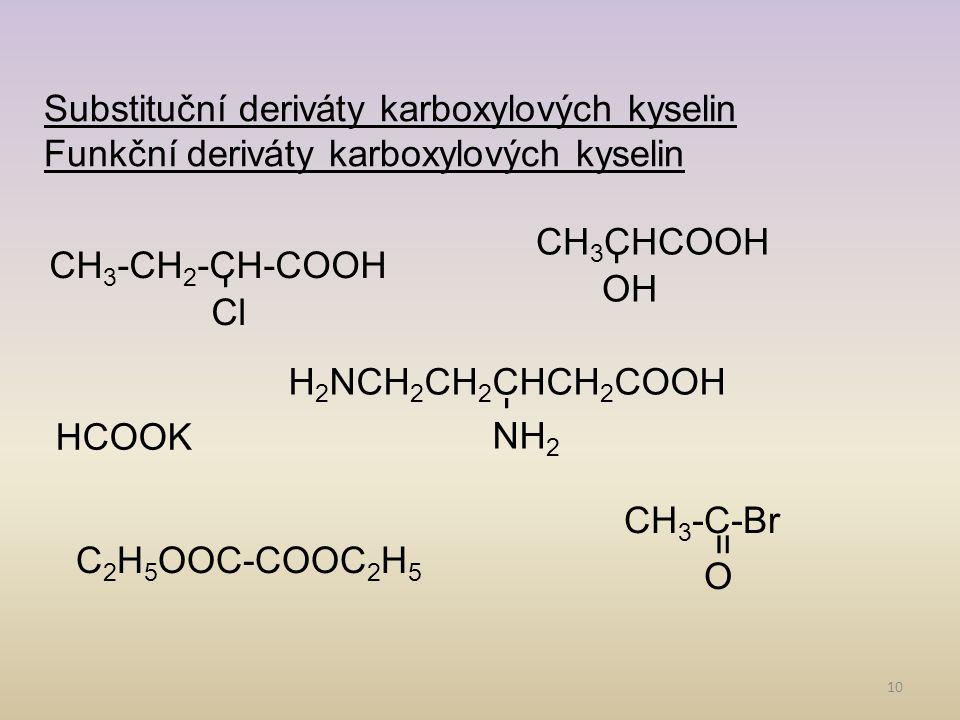 Substituční deriváty karboxylových kyselin