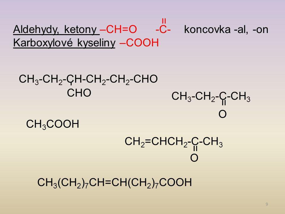 = Aldehydy, ketony –CH=O -C- koncovka -al, -on. Karboxylové kyseliny –COOH. - CHO. CH3-CH2-CH-CH2-CH2-CHO.
