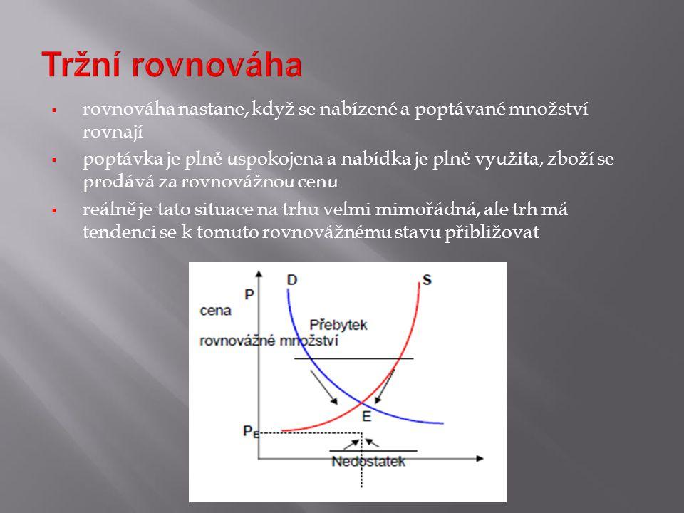 rovnováha nastane, když se nabízené a poptávané množství rovnají