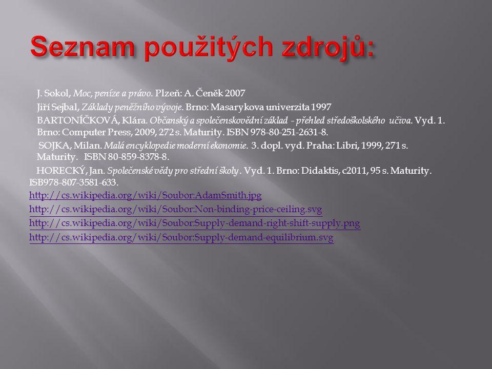 J. Sokol, Moc, peníze a právo. Plzeň: A. Čeněk 2007