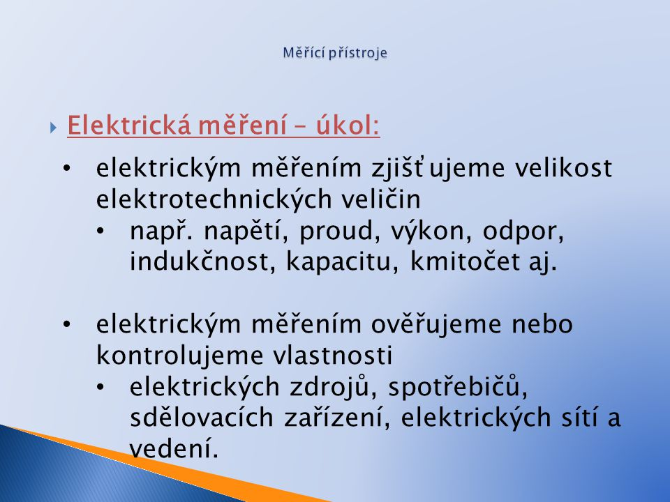 Elektrická měření – úkol: