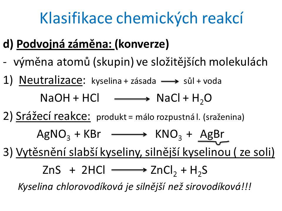 Klasifikace chemických reakcí