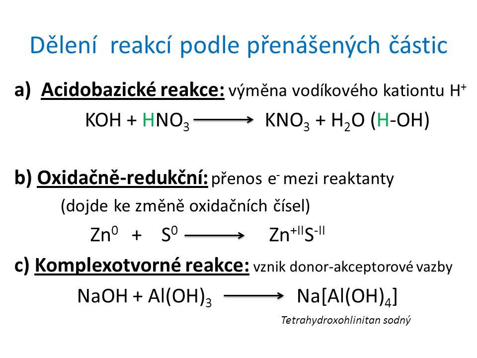 Dělení reakcí podle přenášených částic