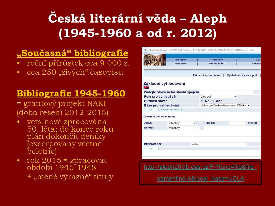 Česká literární věda – Aleph (1945-1960 a od r. 2012)