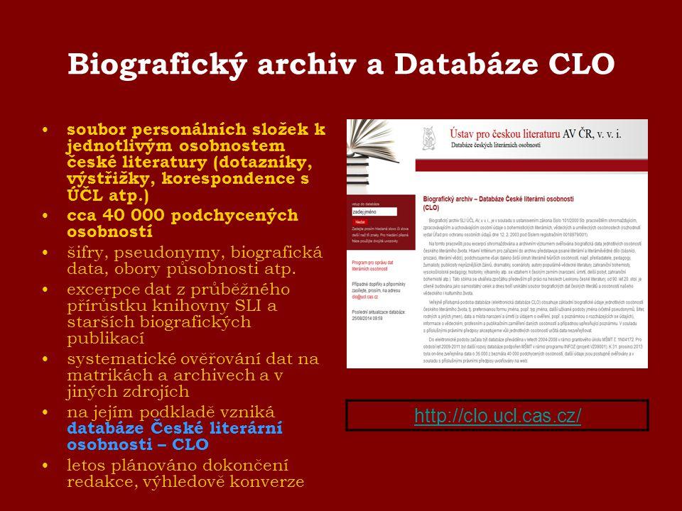 Biografický archiv a Databáze CLO