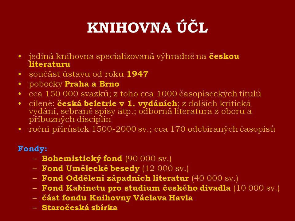 KNIHOVNA ÚČL jediná knihovna specializovaná výhradně na českou literaturu. součást ústavu od roku 1947.