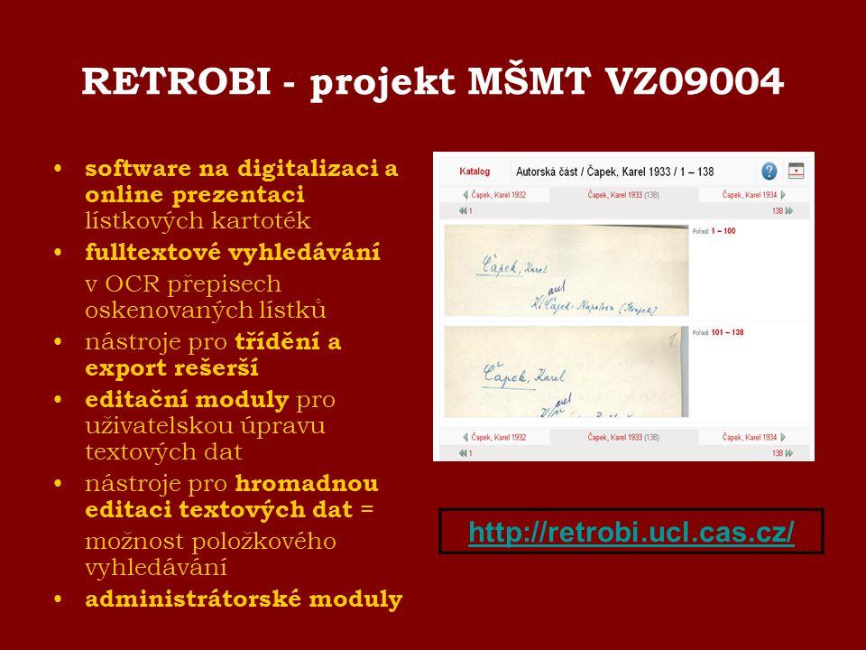 RETROBI - projekt MŠMT VZ09004