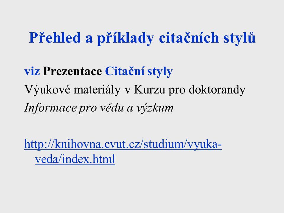 Přehled a příklady citačních stylů