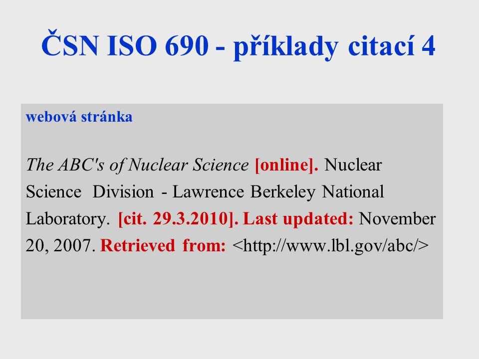 ČSN ISO 690 - příklady citací 4