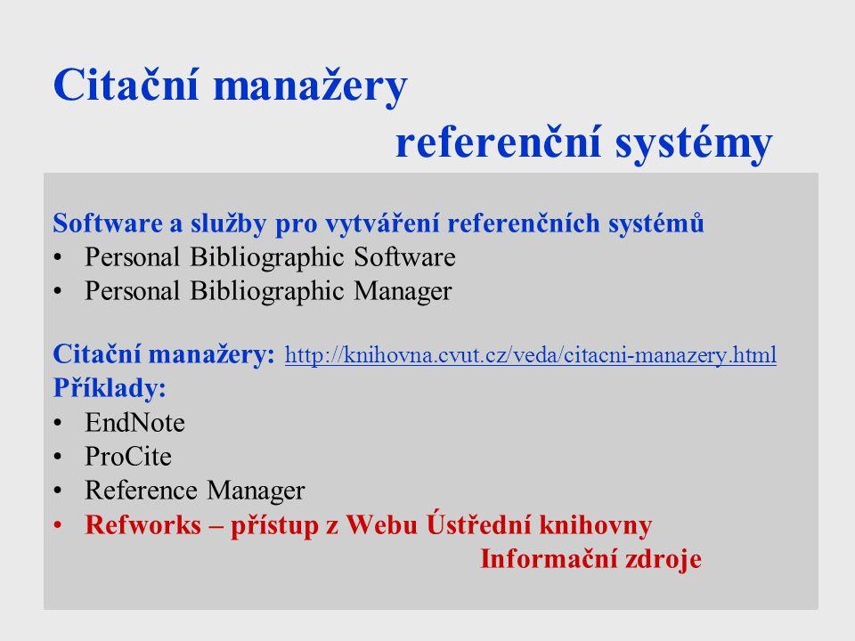 Citační manažery referenční systémy