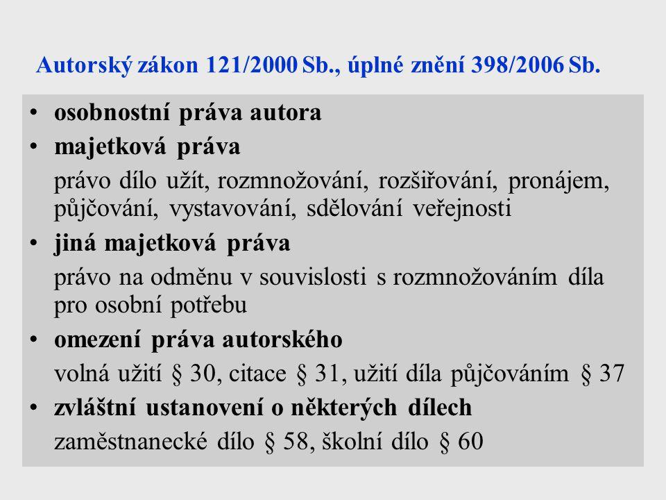 Autorský zákon 121/2000 Sb., úplné znění 398/2006 Sb.