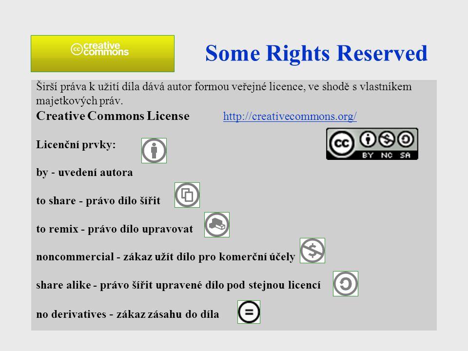 Some Rights Reserved Širší práva k užití díla dává autor formou veřejné licence, ve shodě s vlastníkem.