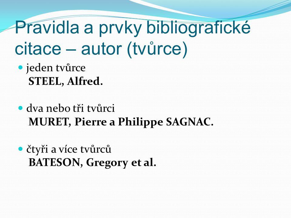 Pravidla a prvky bibliografické citace – autor (tvůrce)