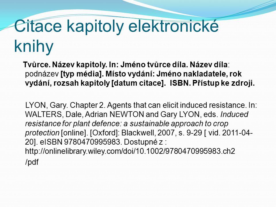 Citace kapitoly elektronické knihy