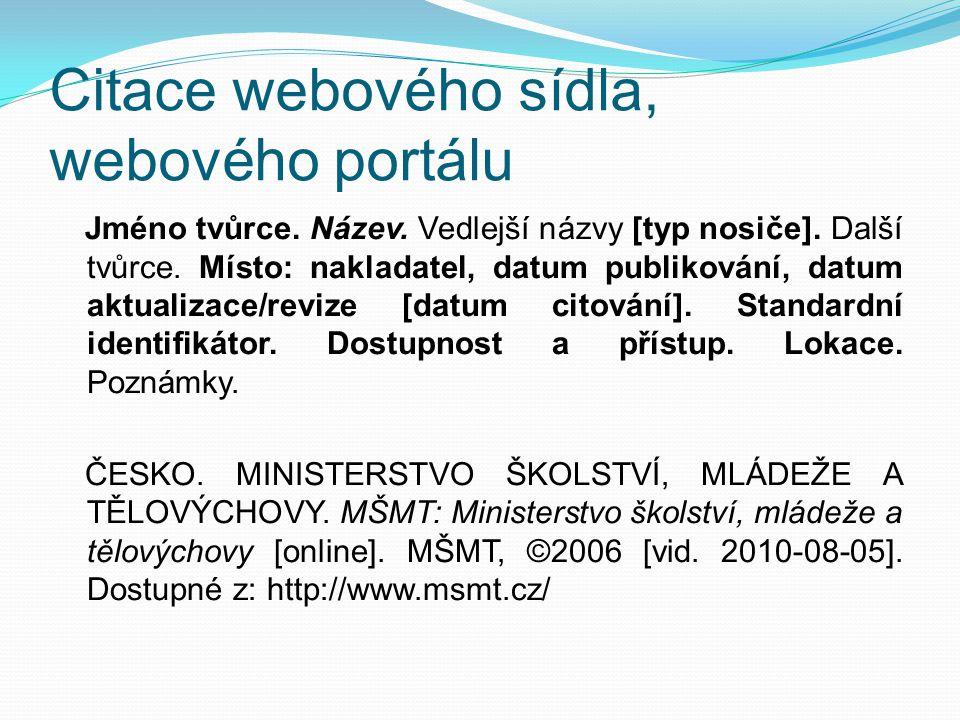 Citace webového sídla, webového portálu