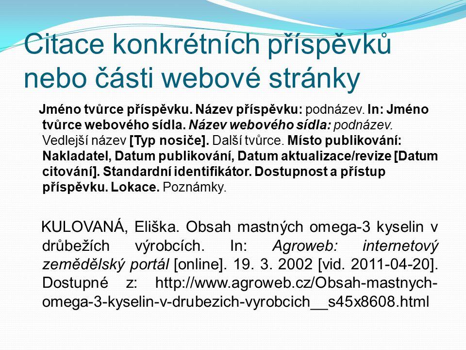 Citace konkrétních příspěvků nebo části webové stránky