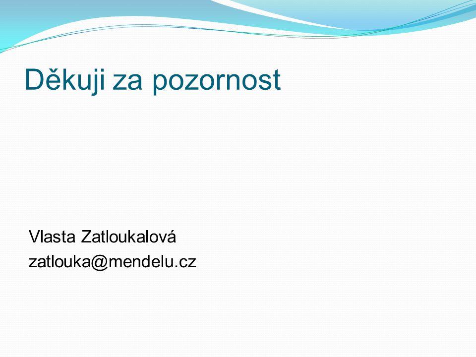 Děkuji za pozornost Vlasta Zatloukalová zatlouka@mendelu.cz
