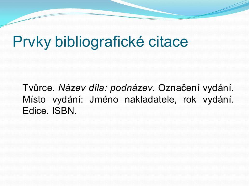 Prvky bibliografické citace