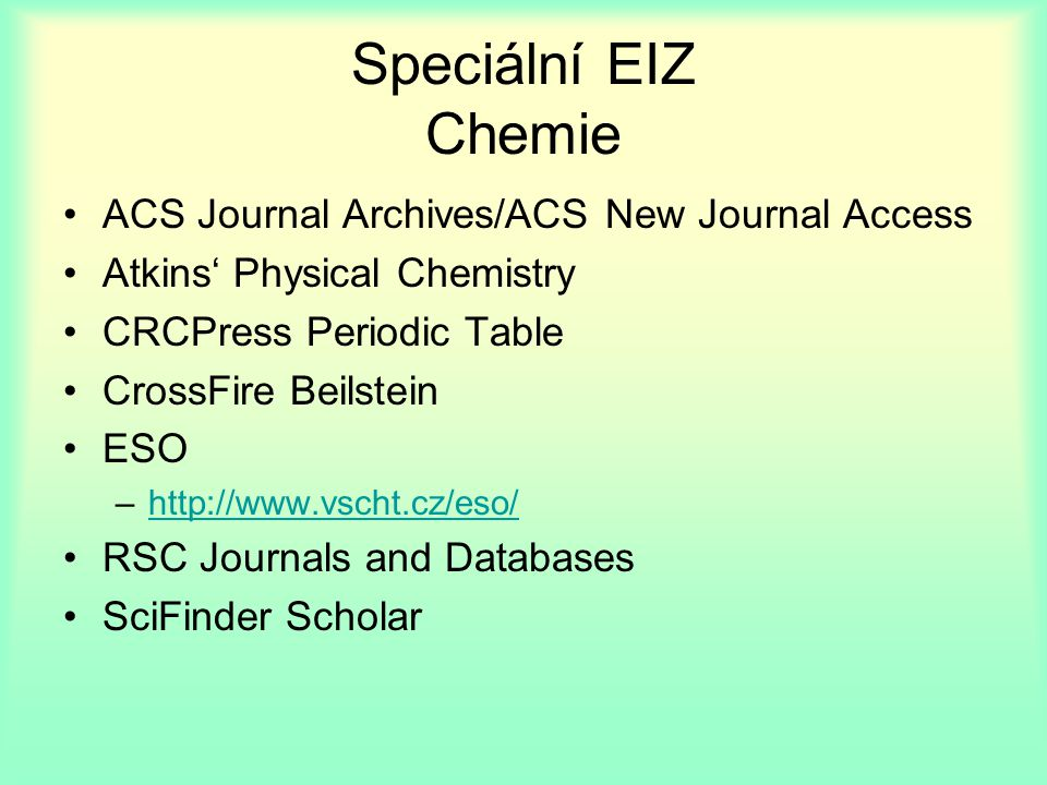 Speciální EIZ Chemie ACS Journal Archives/ACS New Journal Access