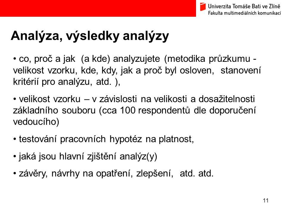 Analýza, výsledky analýzy