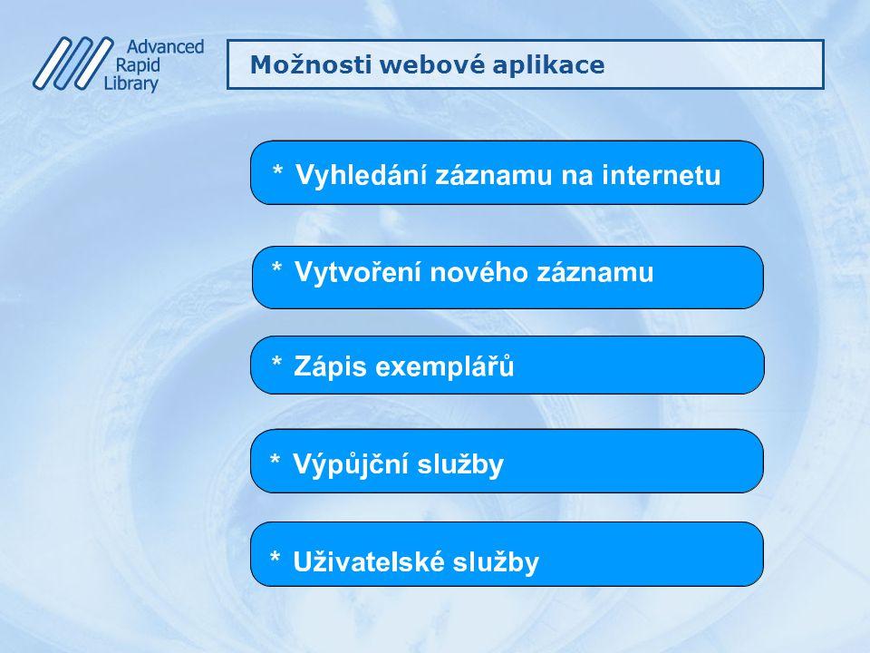 Možnosti webové aplikace