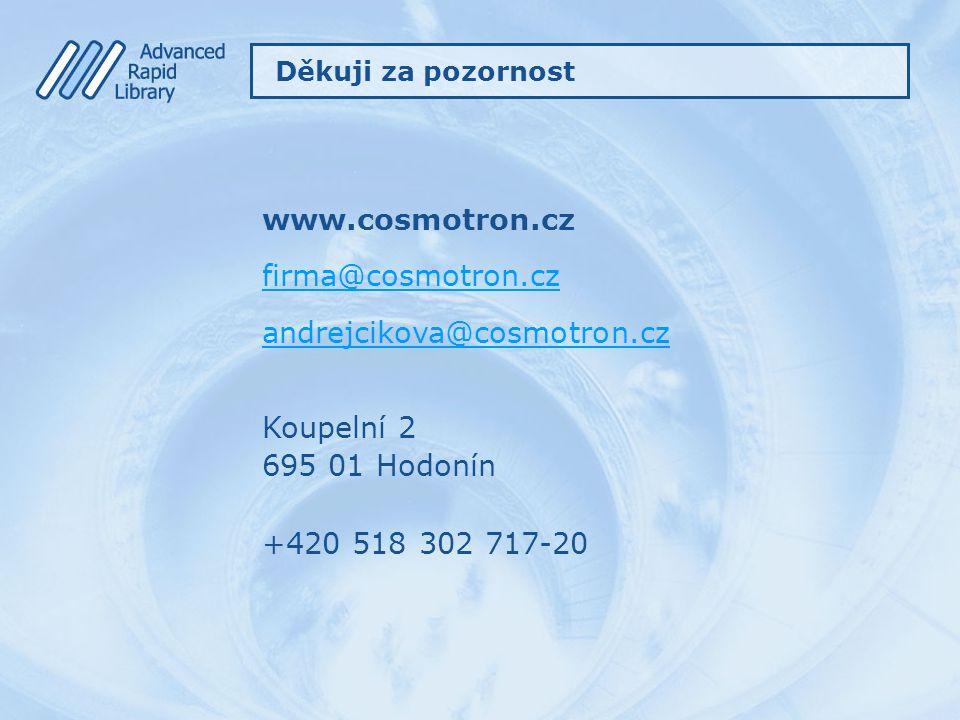 www.cosmotron.cz firma@cosmotron.cz andrejcikova@cosmotron.cz