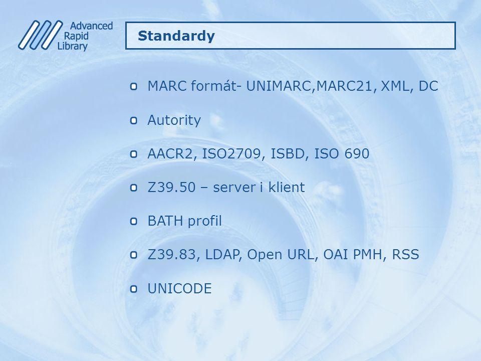 MARC formát- UNIMARC,MARC21, XML, DC Autority