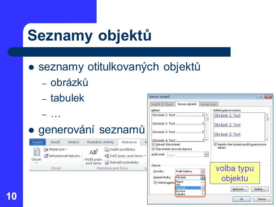 Seznamy objektů seznamy otitulkovaných objektů generování seznamů