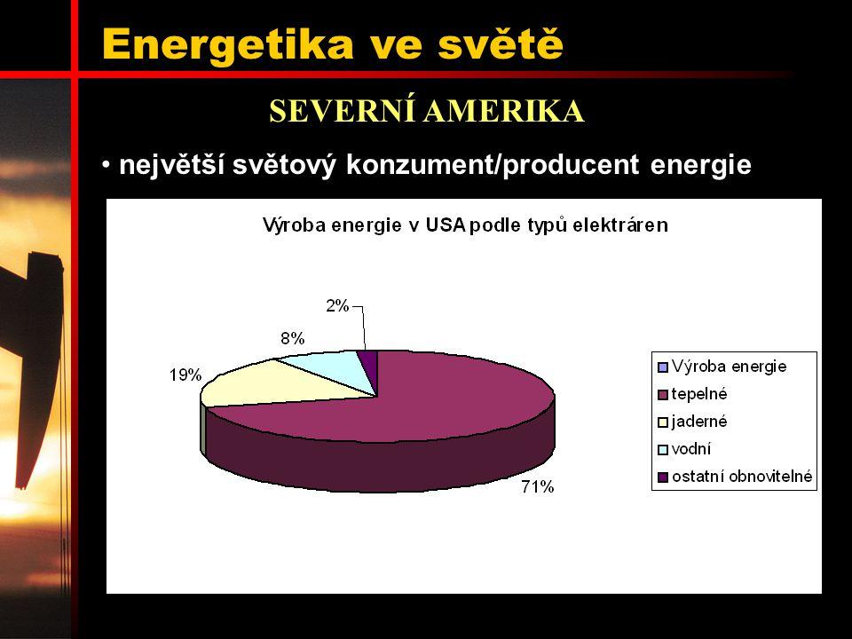 Energetika ve světě SEVERNÍ AMERIKA