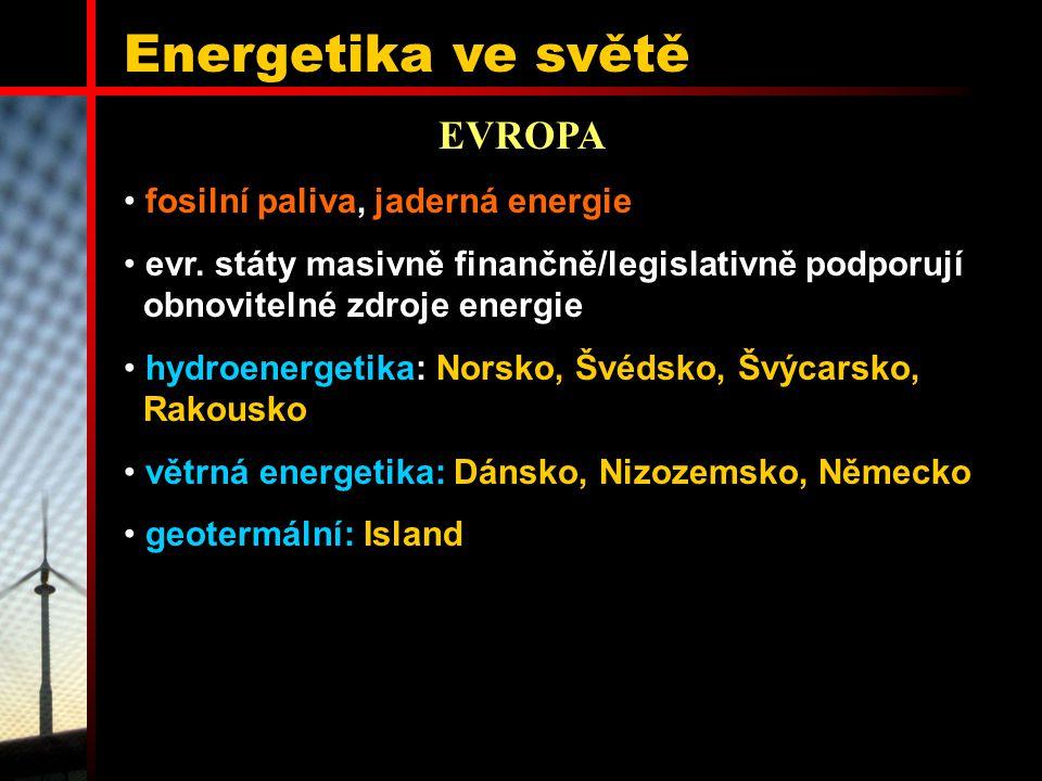 Energetika ve světě EVROPA fosilní paliva, jaderná energie
