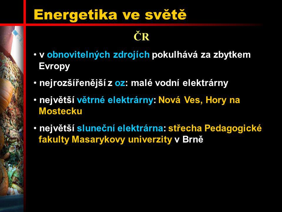 Energetika ve světě ČR. v obnovitelných zdrojích pokulhává za zbytkem Evropy. nejrozšířenější z oz: malé vodní elektrárny.